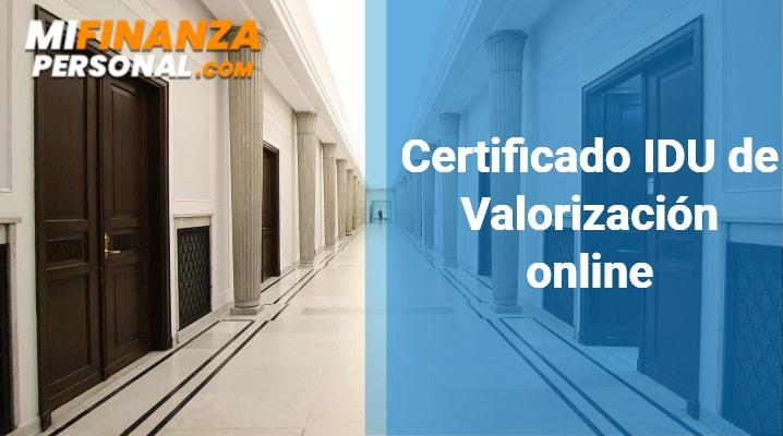 Certificado IDU de Valorización online