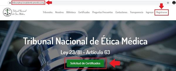 solicitud de certificados en el tribunal de etica medica
