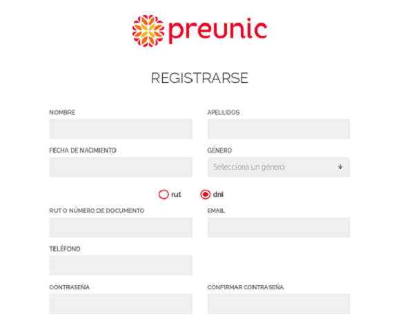 Registro en Preunic